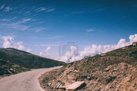 mountain road and rocks in Indian Himalayas, Rohtang Pass