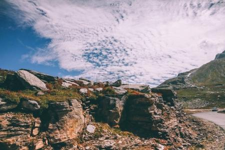 Photo for Beautiful rocky scenic landscape in indian himalayas, keylong region - Royalty Free Image