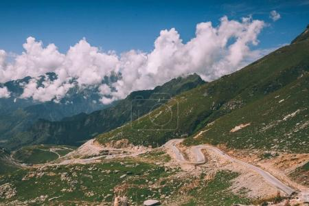 beautiful scenic mountain landscape with road in Indian Himalayas, Rohtang Pass
