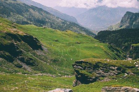 Photo pour Majestueuses montagnes rocheuses couvertes d'herbe verte et de mousse dans l'Himalaya indien, col Rohtang - image libre de droit