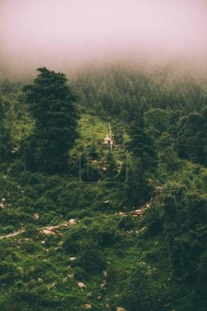 beautiful scenic mountain landscape in fog, Indian Himalayas, Dharamsala, Baksu