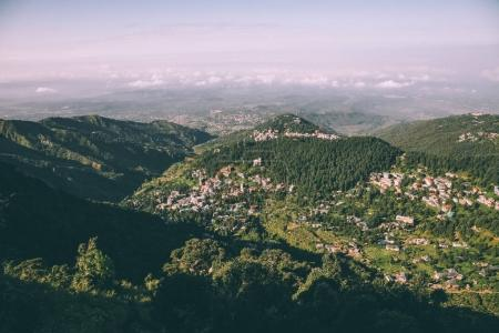 beautiful scenic landscape with mountain village in Indian Himalayas, Dharamsala, Baksu