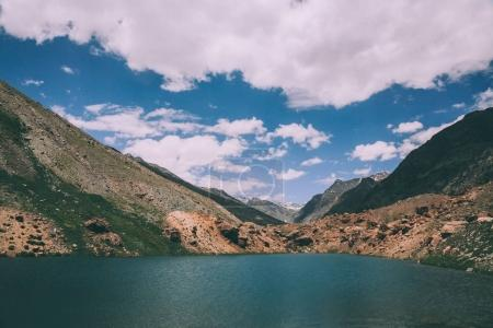 beautiful landscape with calm lake and majestic mountains in Indian Himalayas, Ladakh region