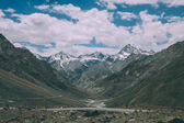 beautiful mountain valley with road and snow capped peaks in Indian Himalayas, Ladakh region