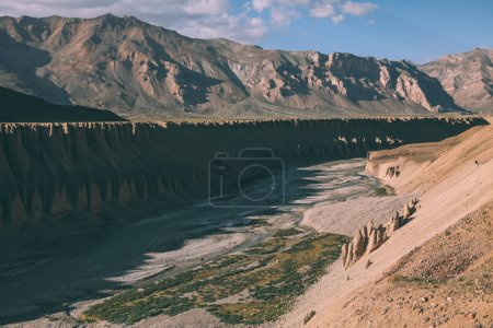 Photo for Beautiful natural formations and mountain river in Indian Himalayas, Ladakh region - Royalty Free Image