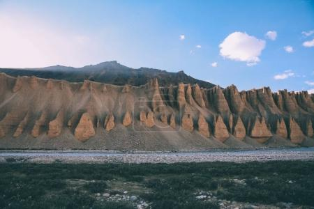 Photo for Scenic landscape with natural formations and mountain river in Indian Himalayas, Ladakh region - Royalty Free Image