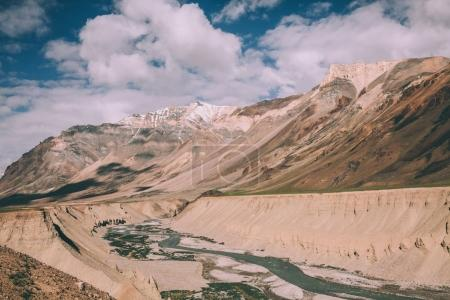 beautiful landscape with mountain river in valley in Indian Himalayas, Ladakh region