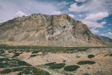 huge rock and mountain valley in Indian Himalayas, Ladakh region