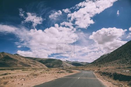 empty asphalt mountain road in Indian Himalayas, Ladakh region