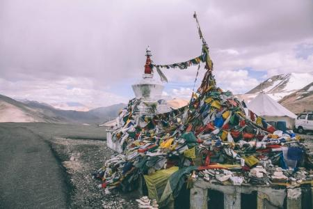 Photo for Stupa and prayer flags in Indian Himalayas, Ladakh region - Royalty Free Image