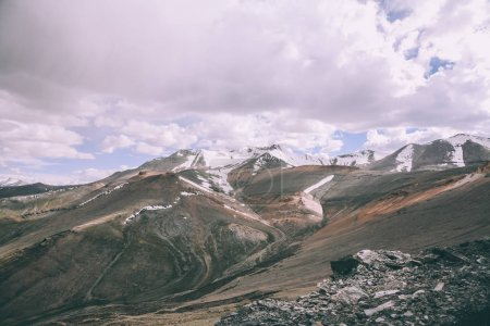 majestic mountains with snow capped peaks in Indian Himalayas, Ladakh region