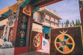 open gates and entrance to the Leh city in Indian Himalayas