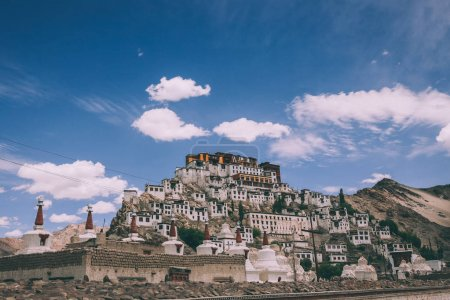 Photo for Traditional houses and stupas in Leh city, Indian Himalayas - Royalty Free Image