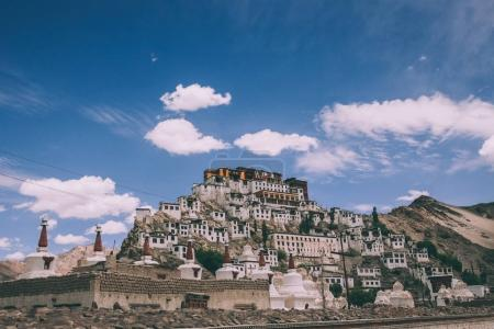 traditional houses and stupas in Leh city, Indian Himalayas