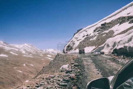 beautiful landscape with mountain road in Indian Himalayas, Ladakh region