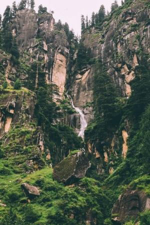 Photo for Amazing majestic waterfall and rocks in indian himalayas - Royalty Free Image