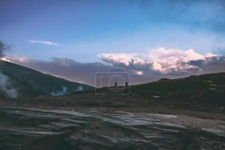 majestic mountain landscape at sunrise in Indian Himalayas, Rohtang Pass