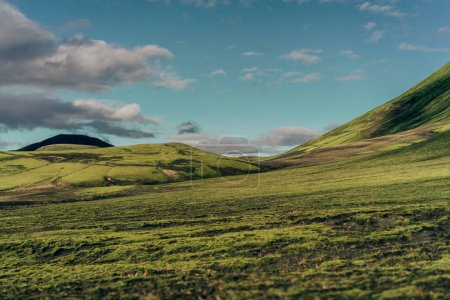 Photo for Beautiful scenic landscape with green hills in Iceland - Royalty Free Image