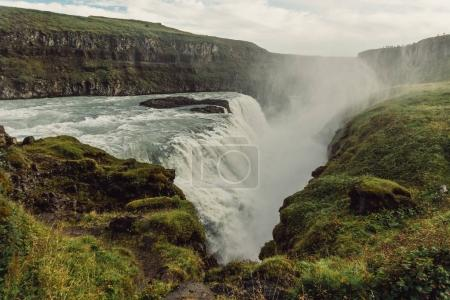 Photo for Beautiful  scenic icelandic landscape with majestic waterfall - Royalty Free Image