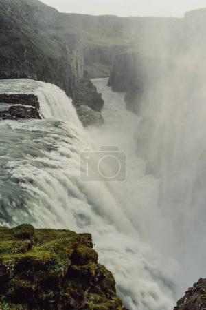 beautiful majestic scenic landscape with waterfall in Iceland