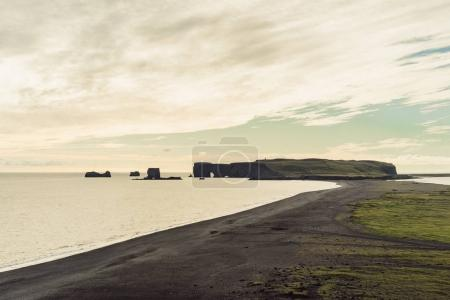 beautiful landscape with scenic seashore in Iceland