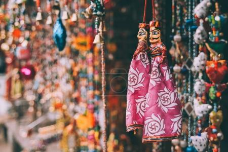 Photo for Close-up view of colorful decorations hanging at Rajasthan, Pushkar - Royalty Free Image