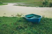 blue boat on green grass near beautiful river in Altai, Russia