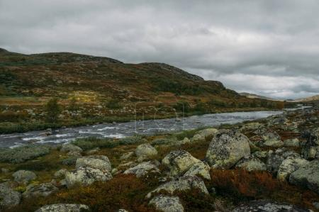 Photo for River stream going through stones and hills on field, Norway, Hardangervidda National Park - Royalty Free Image