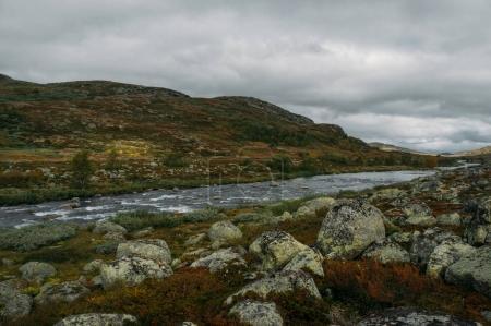 Photo pour Flux de la rivière en passant par les pierres et les collines sur champ, Norvège, Parc National de Hardangervidda - image libre de droit