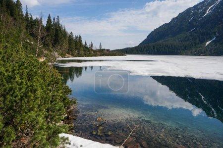 View of mountain lake with ice on surface and mountain hills, Morskie Oko, Sea Eye, Tatra National Park, Poland