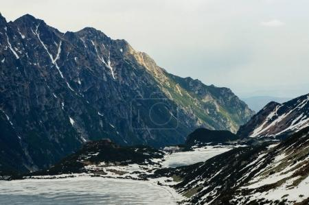 Photo for Frozen winter lake in scenic mountains, Morskie Oko, Sea Eye, Tatra National Park, Poland - Royalty Free Image