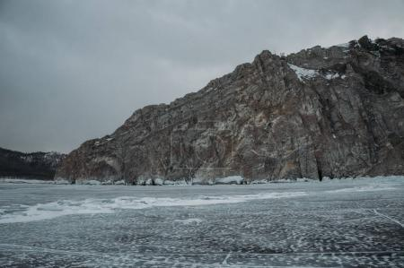 Winter landscape with scenic frozen lake, Russia, Lake Baikal