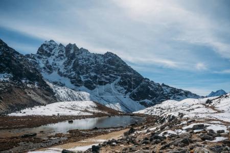 beautiful scenic landscape with snowy mountains and lake, Nepal, Sagarmatha, November 2014