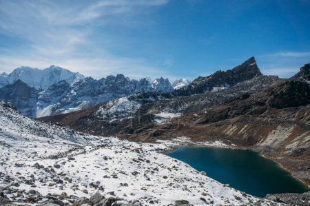 Photo for Beautiful scenic landscape with snowy mountains and lake, Nepal, Sagarmatha, November 2014 - Royalty Free Image