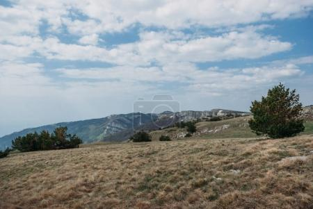 panoramic view of mountains, valley and cloudy sky, Ukraine, Crimea