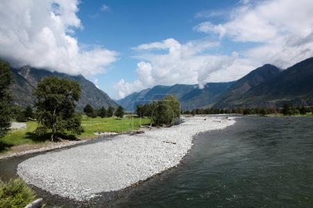 Photo pour Belle vue sur les montagnes et le lac, Altaï, Russie - image libre de droit