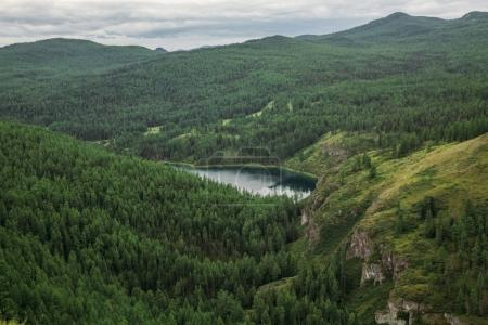 majestic mountains covered with trees and mountain lake in Altai, Russia