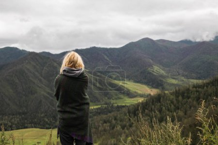 woman in mountains