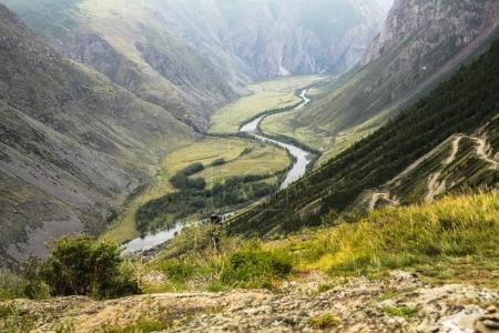 Photo for Scenic landscape with mountain valley and river, Altai, Russia - Royalty Free Image