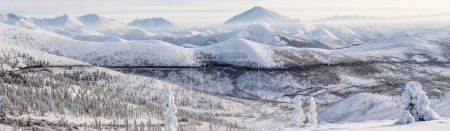 Photo for Beautiful snow covered winter road and trees in snow capped mountains, kolyma highway, russian federation - Royalty Free Image