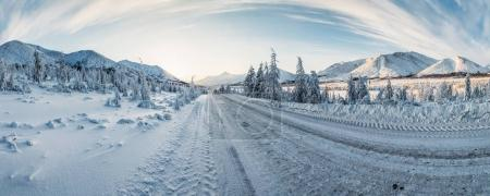 Photo for Beautiful snow covered winter road and trees in scenic mountains, kolyma highway, russian federation - Royalty Free Image