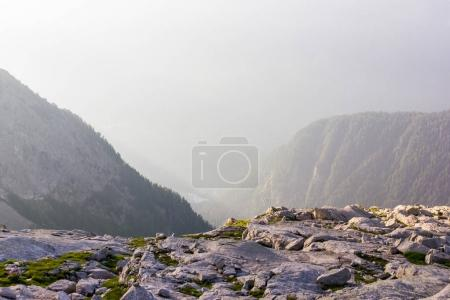 rocks and beautiful mountains at foggy sunrise, alps, switzerland