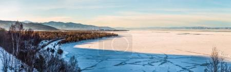 Photo for Beautiful scenic landscape with shore and frozen lake Baikal - Royalty Free Image