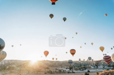 Photo for Majestic landscape with Hot air balloons, fairy chimneys, Cappadocia, Turkey - Royalty Free Image