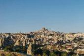 Aerial view of city and fairy chimneys, Cappadocia, Turkey