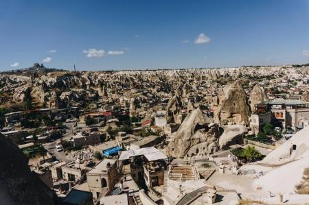 Photo for Aerial view of city and fairy chimneys, Cappadocia, Turkey - Royalty Free Image