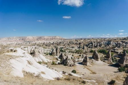 mountain landscape with fairy chimneys, Cappadocia, Turkey