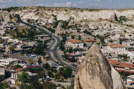 Photo for Aerial view of city in Cappadocia, Turkey - Royalty Free Image