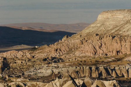 Aerial view of Goreme national park, fairy chimneys, Cappadocia, Turkey
