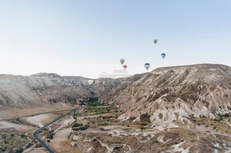 mountain landscape with Hot air balloons, Cappadocia, Turkey